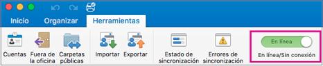 Control deslizante de sin conexión o en línea en la ficha Herramientas