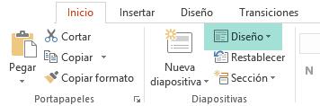 El botón Diseño en la pestaña Inicio en PowerPoint muestra todos los diseños de diapositiva disponibles