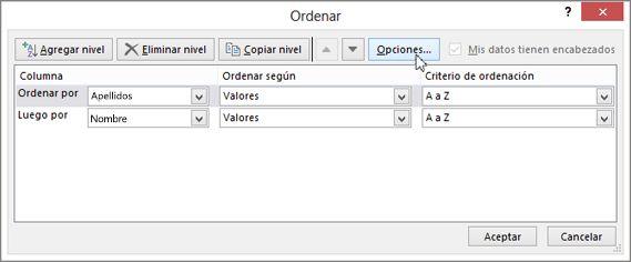Haga clic en Ordenar para abrir el cuadro de diálogo Ordenar