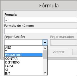 Las opciones de pegado de una fórmula se muestran en la pestaña Diseño de herramientas de tabla.