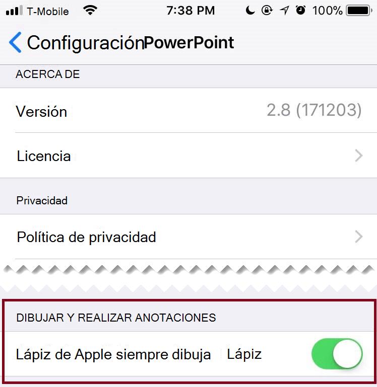 En la configuración de una aplicación, puede activar o desactivar la entrada de lápiz automática.