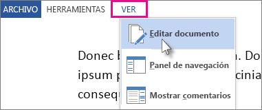 Imagen de parte del menú Ver en modo Lectura, con la opción Editar el documento seleccionada.