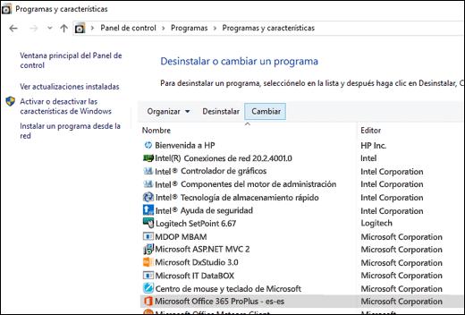Hacer clic en Cambiar en el applet Desinstalar programas para iniciar una reparación de Microsoft Office