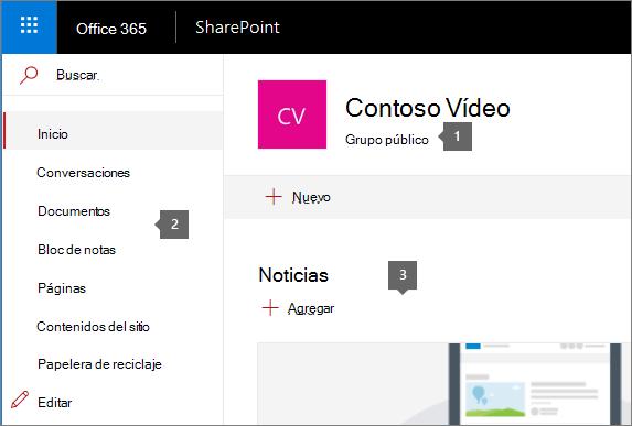 Página de inicio del sitio de grupo de SharePoint