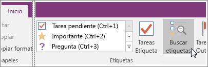 Captura de pantalla del botón Buscar etiquetas en OneNote 2016