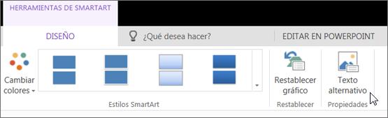 Captura de pantalla que muestra la pestaña Diseño de Herramientas de SmartArt con el cursor apuntando a la opción Texto alternativo.
