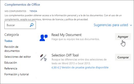 Captura de pantalla de la página de aplicaciones para Office de la tienda donde puede seleccionar o buscar una aplicación para Word.