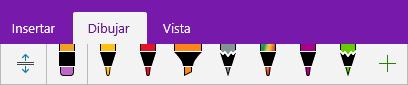 Galería de lápices en OneNote en la que se muestran lápices personalizados.
