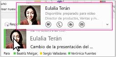 Menú rápido de Skype Empresarial para Outlook