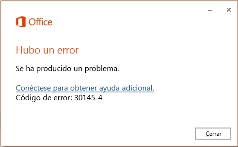 Código de error 30145-4 al instalar Office