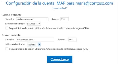 Confirmar la configuración de una cuenta de correo