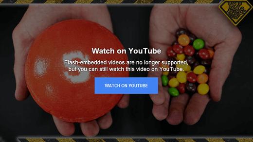 Este mensaje de error de YouTube explica que ya no admite vídeos insertados en Flash