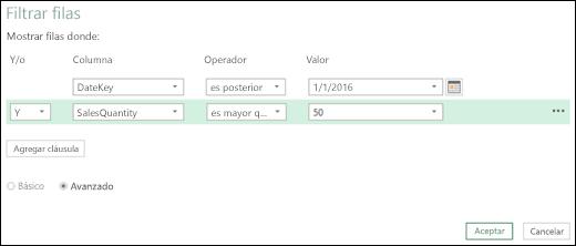 Cuadro de diálogo avanzado Filtrar filas de Power BI para Excel en el Editor de consultas