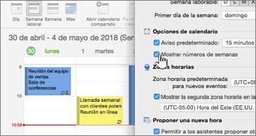 Calendario en el lado izquierdo y cuadro de diálogo en el lado derecho