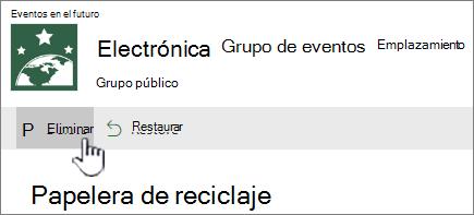 SharePoint Online reciclaje botón de eliminar elemento