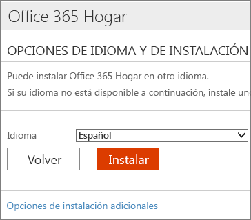 En la página Opciones de instalación y de idioma, seleccione el vínculo Opciones adicionales de instalación.