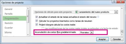 Pestaña Programación del cuadro de diálogo Opciones de Excel