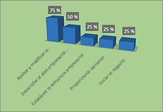 Gráfico formato % completado en el informe Información general del proyecto