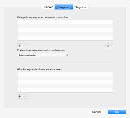 Configuración de los delegados en la configuración avanzada de una cuenta