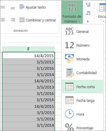 Cambiar los datos a formato de fecha corta desde la cinta de opciones