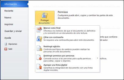 Botón Proteger documento con opciones