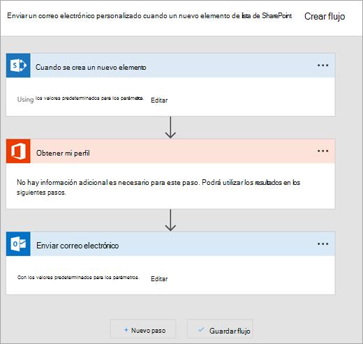 Siga las instrucciones del sitio Microsoft Flow para conectar el flujo