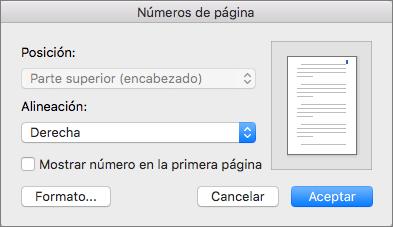 En Números de página, establezca la posición y alineación de los mismos.