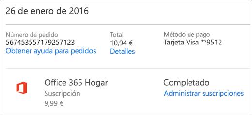 Un ejemplo de la página Historial de pedidos que muestra los detalles del pedido de una suscripción de Office 365 Hogar.