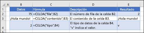 Ejemplos de la función CELDA