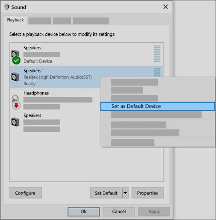 configurar el dispositivo de audio como dispositivo predeterminado