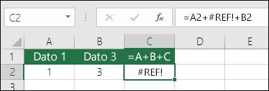Error #¡REF! provocado al eliminar una columna.  La fórmula ha cambiado a =A2+#¡REF!+B2