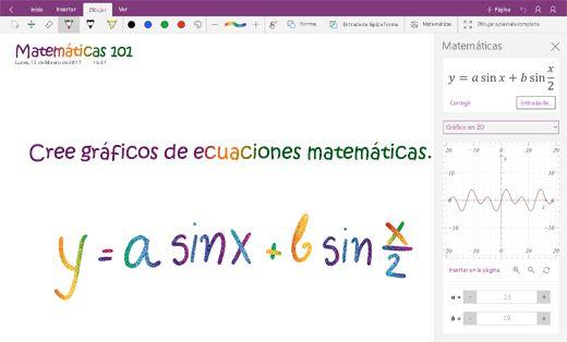Ecuaciones matemáticas de gráfico en OneNote para Windows 10