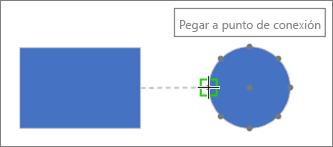 La forma de destino muestra la información sobre herramientas: Pegar a punto de conexión