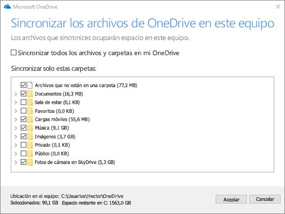 Captura de pantalla del cuadro de diálogo Sincronizar los archivos de OneDrive en este equipo.
