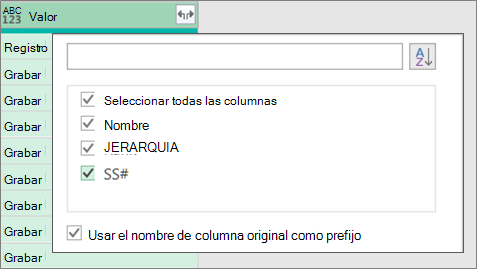 Expandir un registro JSON