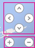 Botones de zoom y flechas usadas para inclinar el mapa de Power Map