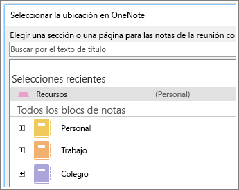 Captura de pantalla de la ventana de OneNote en la que puede elegir en qué página desea tomar las notas de Skype.