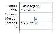 """Imagen del Diseñador de consultas en la que se muestran criterios con los operadores siguientes, """"como carácter comodín en un"""""""
