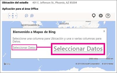 Selección de datos para una aplicación Bing Maps de Office en una aplicación de Access