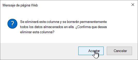 Eliminar el cuadro de confirmación para hacer clic en Aceptar para eliminar