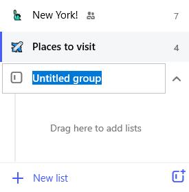 Captura de pantalla con un grupo sin título resaltado y el mensaje arrastre aquí para agregar listas.