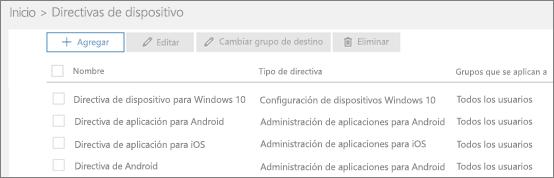 Captura de pantalla de la página Directivas