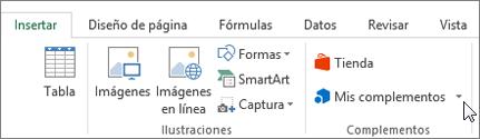 Captura de pantalla de una sección de la ficha Insertar en la cinta de opciones de Excel con un cursor apuntando a Mis complementos seleccione Mis complementos para tener acceso a los complementos de Excel.