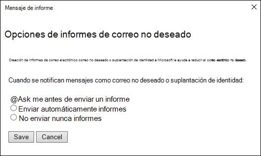 Captura de pantalla que muestra las opciones de los mensajes notificados como intentos de correo no deseado o suplantación de identidad (phishing)