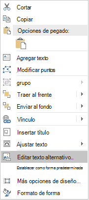 Menú de edición de texto alternativo para las formas de Word Win32