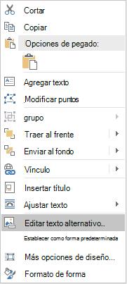 Menú de Word Win32 modificar Alt texto de formas