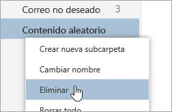 Una captura de pantalla del menú contextual de las Carpetas con la opción Eliminar seleccionada.