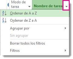 Imagen del menú Nombre de tarea con la opción Ordenar de A a Z seleccionada