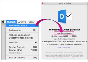 Seleccione acerca de Outlook para buscar su versión