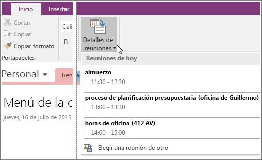 Captura de pantalla del botón Detalles de la reunión en OneNote 2016.